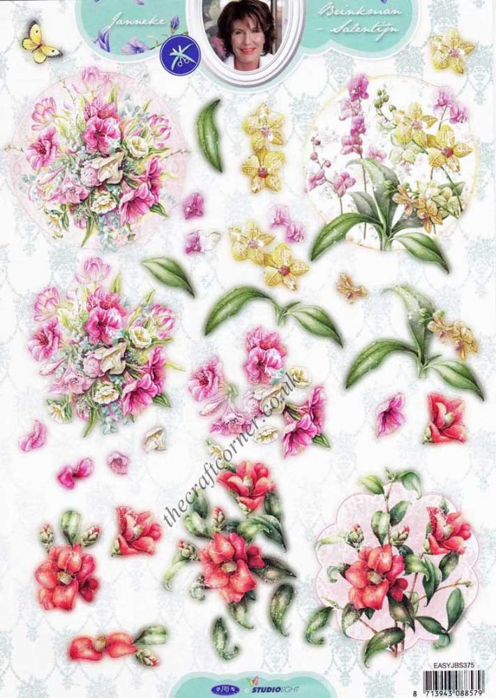 Rose Amp Orchid Flowers Die Cut 3d Decoupage Sheet